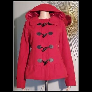 EUC PINK ENVELOPE LARGE RED PEACOAT HOOD BUTTONS